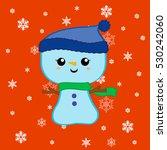 cutie christmas snowman vector... | Shutterstock .eps vector #530242060