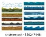 set of landscape land  sea and... | Shutterstock .eps vector #530247448