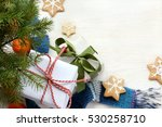 gifts  cookies and mandarins... | Shutterstock . vector #530258710