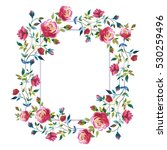 wildflower rose flower wreath... | Shutterstock . vector #530259496