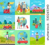 set of traveling vector... | Shutterstock .eps vector #530265340
