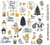 christmas set with cartoon new... | Shutterstock .eps vector #530267674