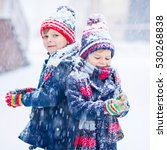 two little kid boys in colorful ... | Shutterstock . vector #530268838