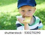 Child Little Boy Eating...