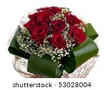 Stock photo red roses bouquet isolated on white background 53028004