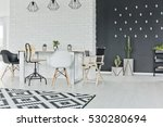 dining room with chalkboard and ... | Shutterstock . vector #530280694
