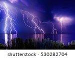 lightning storm over black sea...   Shutterstock . vector #530282704