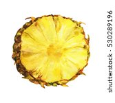 Slice Of Fresh Pineapple. Hand...