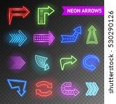 bright neon realistic arrows... | Shutterstock . vector #530290126