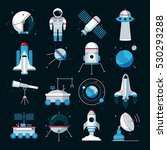 spacecrafts flat icons set with ... | Shutterstock . vector #530293288