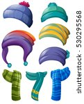 different design of winter hats ... | Shutterstock .eps vector #530295568