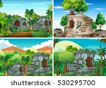 Scene with stone houses in jungle illustration