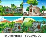 scene with stone houses in... | Shutterstock .eps vector #530295700