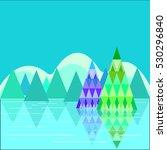 flat design winter landscape... | Shutterstock .eps vector #530296840