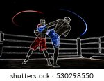 boxing ring surrounded by ropes ... | Shutterstock . vector #530298550