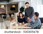 happy family having breakfast... | Shutterstock . vector #530305678
