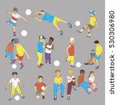 kids playing football cartoon....   Shutterstock .eps vector #530306980