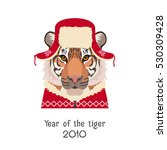 vector tiger head in new year ...   Shutterstock .eps vector #530309428