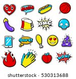 fashion patch badges with heart ... | Shutterstock . vector #530313688