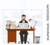 workplace of office worker | Shutterstock .eps vector #530315194
