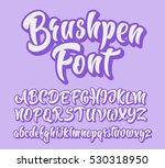 brushpen comic lettering font.... | Shutterstock .eps vector #530318950