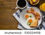 american breakfast with sunny... | Shutterstock . vector #530324458