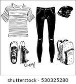 fashion ideas. sneakers  jeans  ... | Shutterstock .eps vector #530325280