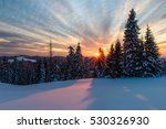 Winter Sunset In Slovakia