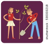 young volunteers man and woman... | Shutterstock .eps vector #530333218