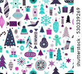 seamless pattern with new year... | Shutterstock .eps vector #530339269