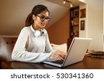 young female student  at home... | Shutterstock . vector #530341360