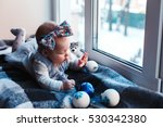 small child with blue eyes ... | Shutterstock . vector #530342380