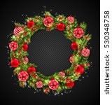 illustration christmas wreath... | Shutterstock .eps vector #530348758