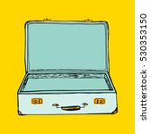 open suitcase on yellow... | Shutterstock .eps vector #530353150