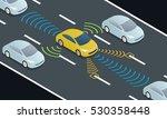 autonomous car driving on road... | Shutterstock .eps vector #530358448