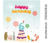 happy birthday card with number ... | Shutterstock .eps vector #530362816