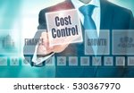 Small photo of A businessman selecting a Cost Control Concept button on a clear screen.