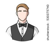 restaurant waiter with a bow... | Shutterstock .eps vector #530375740