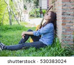 young hipster girl sitting... | Shutterstock . vector #530383024