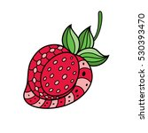 hand painted red strawberries... | Shutterstock .eps vector #530393470