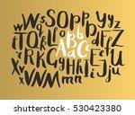 female gold lettering alphabet. ... | Shutterstock .eps vector #530423380