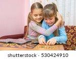 the older sister comforting... | Shutterstock . vector #530424910