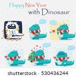 set of stylized funny dinosaurs.... | Shutterstock .eps vector #530436244