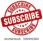 subscribe. stamp. red round...