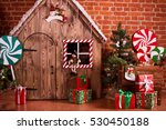 christmas interior with wooden... | Shutterstock . vector #530450188