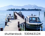 harbor at the chiemsee lake - stock photo