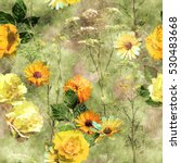Art Vintage Watercolor Floral...