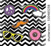 pop art fashion chic patches ... | Shutterstock .eps vector #530485258