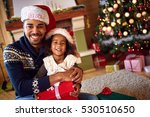 afro american father with cute... | Shutterstock . vector #530510650