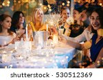 friends celebrating christmas... | Shutterstock . vector #530512369